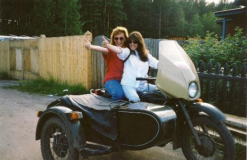 Nikki & Rhonda on motorcycle
